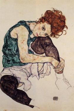 Seated Woman with Bent Knee, 1917 Egon Schiele Crayon, Gouache, Watercolor