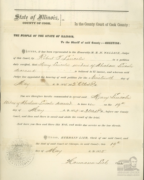 "This is the original arrest warrant for Mary Lincoln on charges of insanity. Mrs. Lincoln was tried in 1875 at the instigation of her son Robert on allegations of insanity, which ultimately led to her being declared a ""lunatic"" and placed in the Bellevue Sanitarium in Batavia, Illinois. Mary Lincoln obtained an early release from Bellevue with the assistance of her friend, Myra Bradwell. One year after the original insanity trial another jury found her sane, restoring her legal control over her assets. Even today, historians disagree whether the evidence against the First Lady was ""trumped up,"" whether the procedures used constituted due process, and what would occur if today's modernized health laws were applied to the same facts. Tonight, here in our Union Theater, Mary Lincoln's insanity trial will be retried using modern rules. A roster of well-known modern judges will serve as attorneys for the petitioner and respondent, and audience members will decide Mrs. Lincoln's fate after hearing the arguments and testimony.            If you are unable to be in attendance this evening, there will be a live webcast of the proceedings here: https://new.livestream.com/blueroomstream/events/1431860More details: http://ow.ly/e5Ju2"