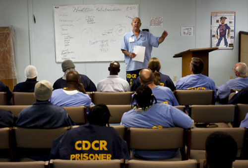"Majority of third-strike inmates are addicts, records show Convicts imprisoned under California's three strikes law are no more inclined to high-risk ""criminal thinking"" than other inmates, but are far more likely to be addicted to drugs and alcohol, according to data from the state prisons department. Our new data analysis, conduced with the San Francisco Chronicle, reveals that in all, nearly 70% of convicts with a third strike show a high need for substance abuse treatment, compared with 48% of all inmates tested. Currently, only 15-20% of inmates receive any education, therapy or drug treatment. Read the full story here. Photo: Inmate counselor Vincent Russo talks about healthy relationships at an Addiction Recovery Counseling meeting at San Quentin State Prison in August. Credit: Michael Macor/San Francisco Chronicle"