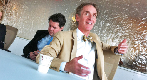 America's favorite bow-tie enthusiast, Bill Nye, stopped by the Fast Company offices last week to promote Sophia, an education startup, and reminisce about chewing marshmallows that had been roasted in liquid nitrogen so steam would come out of his nose.
