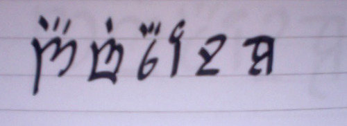 It's been so long since I've written in Elvish but since Danni wrote my name in Gallifreyan, I told her I'd write hers in Elvish. We're gonna write letters to each other in these languages.  Yes.