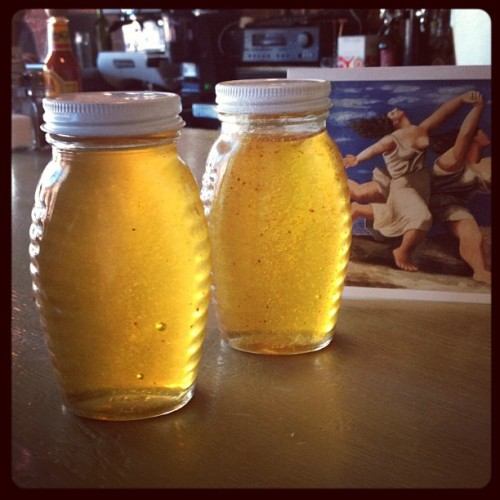 cafeghia:  Special honey delivery from our dear friend Nick in LA! (Taken with Instagram at Cafe Ghia)