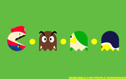 PAC-MARIO parody of the pac-man game and super mario games. Very simple colourful representation how would mario would look like if it was blended with pac-man. You can buy the design on t-shirt, iPhone case and stickers here. Designed by BomDesignz for RedBubble online store.