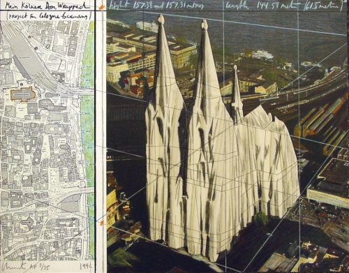 itwonlast:  Mein Kölner Dom, Wrapped (1992). Project for wrapping the Cologne cathedral by Christo.
