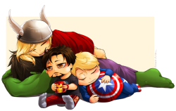 Wee Avengers (A pile of Thor, Hulk, Cap and Tony) (via imgur: the simple image sharer)