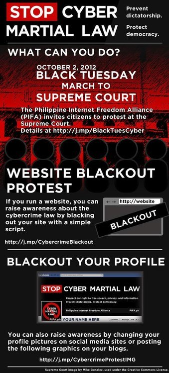 inmidnights:  (via Stop Cyber Martial Law « inmidnights) Read RA 10175 here. Be informed. Read about the problematic parts of the bill and/or sign the petition here. Join the blackout, get the code here. Code will work for most websites, Blogger and Tumblr. Putting the code in is really easy; just paste it in the description box. If that doesn't work, just paste the code in right after the <head> tag.