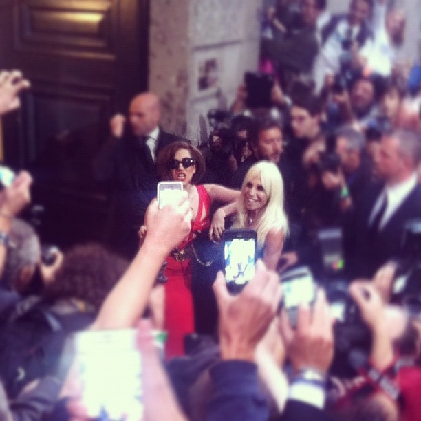 I JUST SAW GAGA OUTSIDE VERSACE!!! LIFE=COMPLETE (Taken with Instagram)