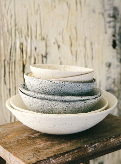 clubmonaco:   March St. George  These beautiful bowls made and sold in the Vancouver shop Marche St. George remind me of the Fall Club Monaco lookbook, the winter whites stand out. -That Kind of Woman