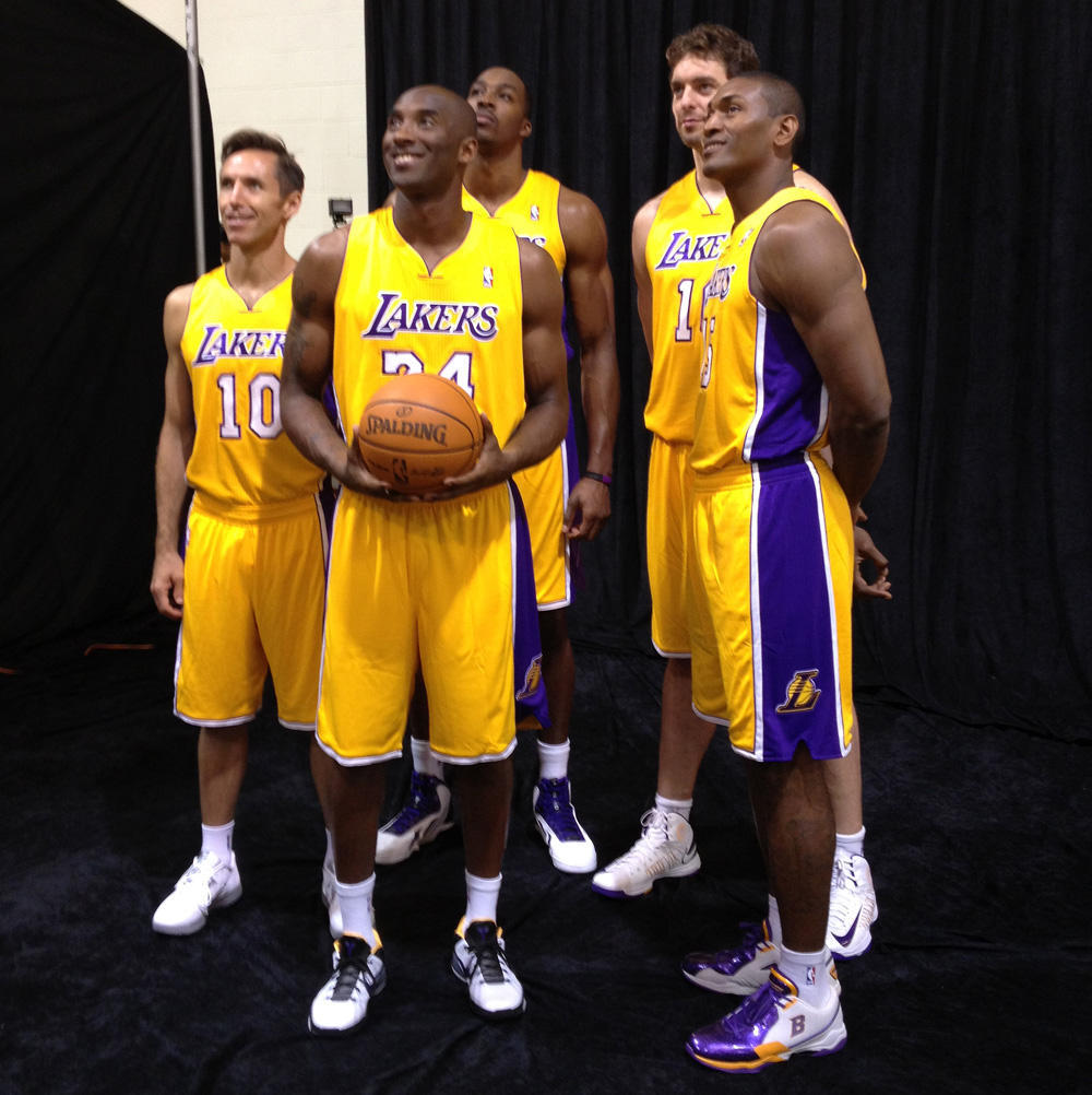 fuckyeahlakers:  @Lakers: Your new starting 5 together for the 1st time in the gold. What'd you think? #LakersCamp