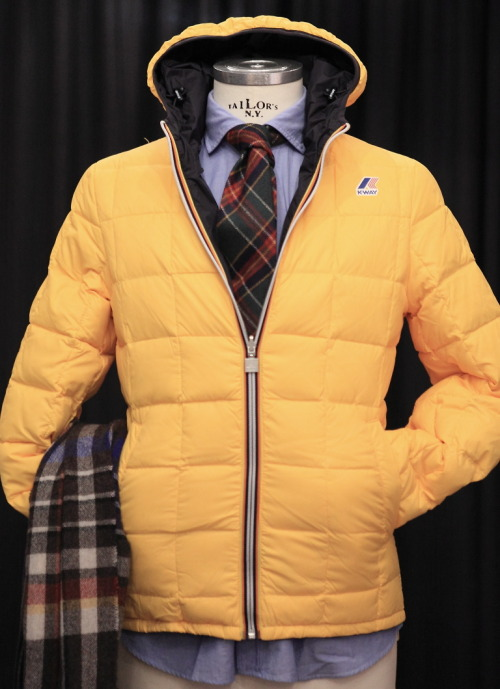 landerurquijo:  Reversible blue and yellow quilted hooded jacket. If you learn how to match it, you can stay stylish and warm.  Available in others colours, we like pair this item with one of our tartan wool tie, mixing different casual outfits /  Impermeable acolchado y reversible azul y amarillo. Si sabes como combinarlo tu look puede ser elegante y caliente. Disponible en otros colores, a nosotros nos gusta llevarlo con una de nuestras corbatas de lana de cuadro tartan, mezclando distintos looks casual.
