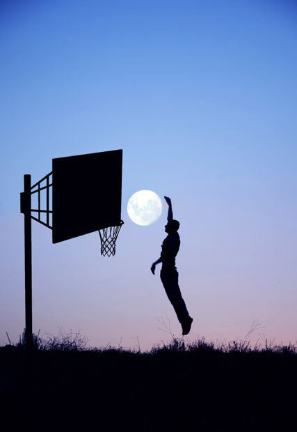 A basketball player appears to slam dunk the moon through a hoop. Adrian Limani, 21, used his brother to pose in images showing him jumping over the moon and holding it in his hands in Raince, Serbia.Picture: ADRIAN LIMANI / CATERS NEWS Thanks, Amina!