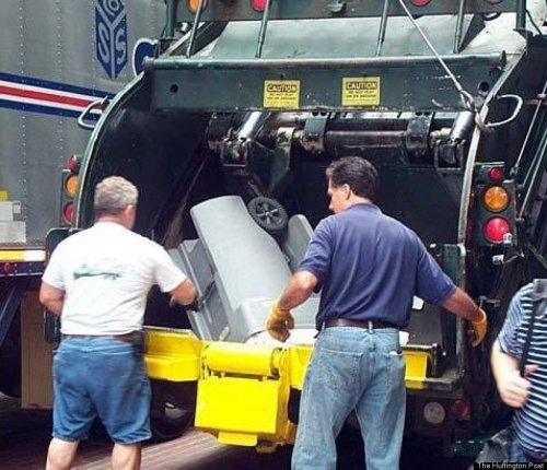 Mitt has no problem taking out the trash. Regular people do it, right?