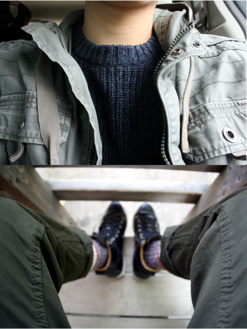 Cranberries.Pullover; H&MJacket; H&MCargo Pants; H&MKnit Socks; Banana RepublicSneakers; adidas Originals x Ransom