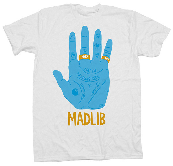 rappcats:  Tour shirt for Madlib Medicine Show in Europe & Australia. Shirt by Mason London.   Nice!