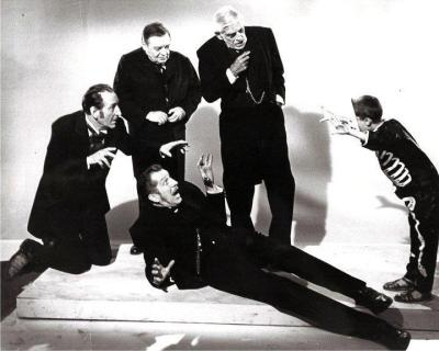 The Four Masters, being spooked by a very lucky kid.Mr. Lorre doesn't seem too impressed, though.