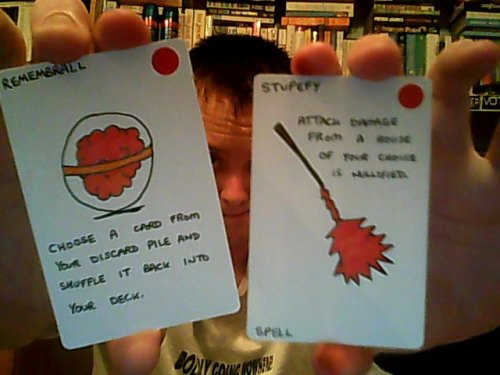 Another couple of Potter game cards. This time, the Remembrall and Stupefy, both uniquely Gryffindorian cards. (Unless you draw a card that lets you steal from another house, of course…)