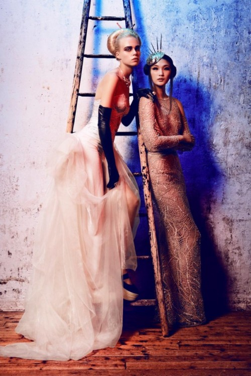 opaqueglitter:  'Extreme Couture' Publication:  L'Officiel Paris October 2012Models: Emma Xie and Claire CollinsPhotographer:  Alexander NeumannFashion Editor: Vanessa Bellugeon