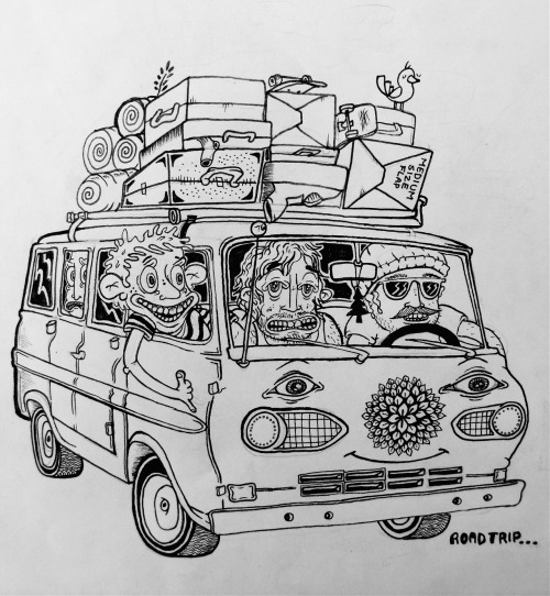 eatsleepdraw:  Roadtrip. follow for more CARTOONS! kalennn.tumblr.com
