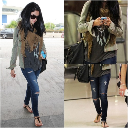 casual OUTFIT OF MONTH: September ♥ ‏ Selena wears: Brandy Melville Joanna Dreamcatcher Tank Free People Variegated Cord Buttondown Deena & Ozzy Shredded Square Scarf Louis Vuitton Lumineuse Tote Steve Madden Seeri Sandals