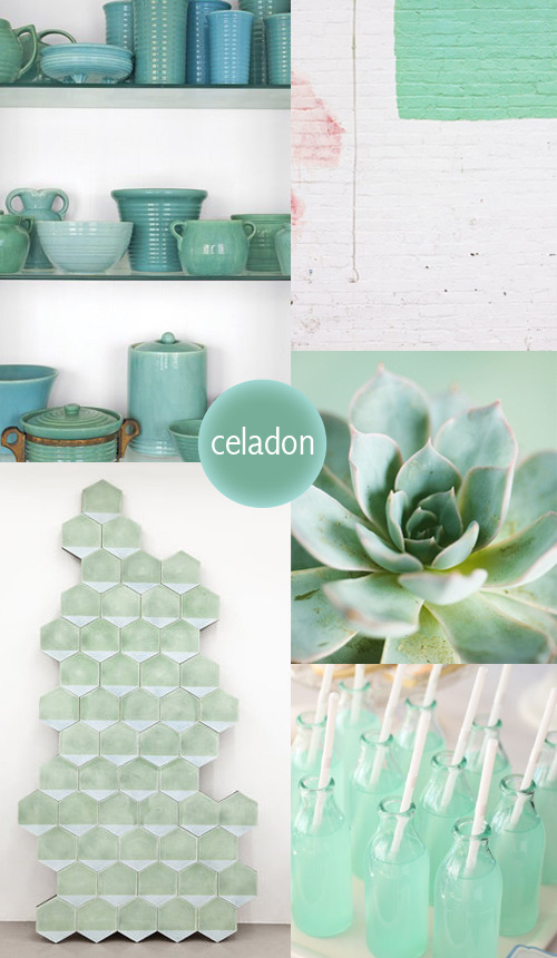 Color my style: Celadon Originally celadon is a glaze made for pottery. This soft pastel color comes in different shades from green to blue. Pair it with white or light grey tones and your home will have a fresh look. Images: Country living | Wall | Flower | Marrakech Design | Hello Naomi more Color my style here