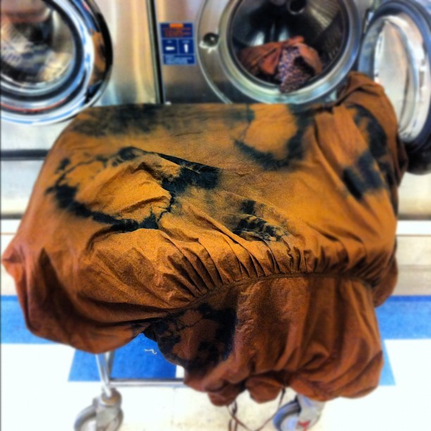 Dye day ends at the laundromat. Bleached black cotton knocking my socks off! (Taken with Instagram)