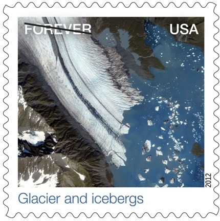 "Very pretty stamp of an American glacier! The ""forever"" is crossed out to prevent people printing their own stamps. As usual, think progress reminds us of impending doom.  think-progress:  The Postal Service's new ""FOREVER"" stamp is the shrinking Alaskan glacier."