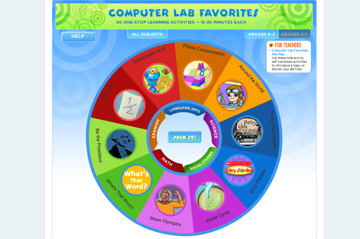 "Computer Lab Favorites…50 one-stop learning activities via Scholastic. (15-30 min. each) #edtech #mathchat #sschat #scichat ""Use these interactive, self-contained activities to introduce a topic or enliven your lab time"" Categories include: Math, Spanish, Science, Language Arts, and Social Studies. Nice assortment of activities. You may also like… Webonauts Internet Academy KnowItAll.org Excellent! Be a Reporter"