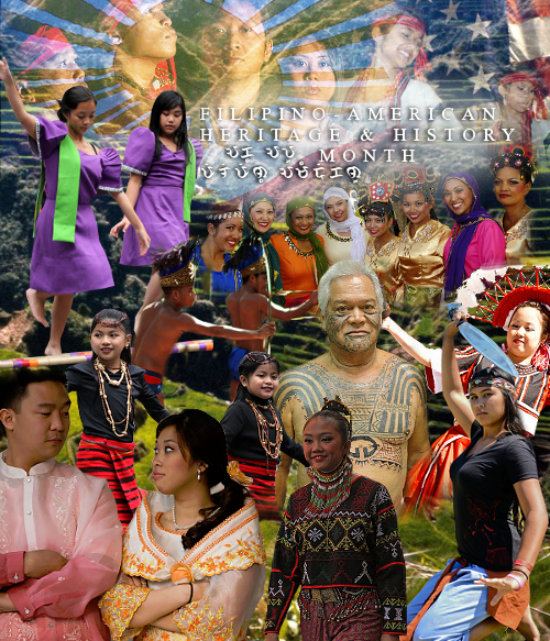 pinoy-culture:  Filipino-American Heritage & History Month The month of October is Filipino-American Heritage and History Month here in the states, and as a celebration of it, every day this month Pinoy-Culture will post information on Filipino-American history and events as well as info on our cultures and history. It is also Indigenous People Month in the Philippines as well so you will also see info on the indigenous groups in the Philippines. So come join and celebrate the month of October, which is a month in celebration of our Filipino heritage and history. Day One:Filipino's were the first Asians to arrive in the U.S. On October 18, 1587, a group of Luzones Indios became the first Asians in the written history of what is now called the United States of America to have set foot on its soil. Captain Pedro de Unamuno landed in California and with him were Luzones Indios who were among the crew and landing party of the Spanish galleon, Nuestra Señora de Buena Esperanza.  Many believe the location to be Morro Bay. Others, however, question the exact location of their landing. Although the precise location is still being debated by historians, what is unquestioned is the fact that these Luzones Indios were part of the crew that sailed the western part of these vast continents. On November 6, 1595, Filipino sailors were also aboard the San Agustin, commanded by Sebastian Rodriguez Cermeno, when it shipwrecked near Point Reyes by the mouth of San Francisco Bay in California. In 1763, the country has learned of the Manila Men and their 50 year old village at Saint-Malo in one of the bayous of Paroisse Plaquemine (the Civil Parish of Plaquemine), on the outskirts of New Orleans. Lafcadio Hearn wrote about these Manila Men on the national magazine Harper's Weekly on March 31, 1883. On August 10, 1779, Fray Junipero Serra of the California Mission in Monterey confirmed Vicente Tallado, indio de la Panpangua en Philipinas, marinero.