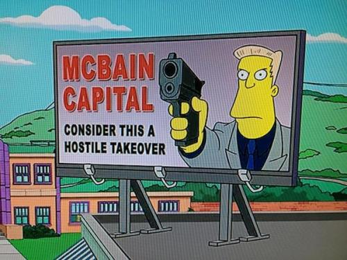 The Simpsons Use Romney Gag in Opening Credits It's fitting that The Simpsons would take shots at Mitt Romney, given the similarities between the GOP candidate and C. Montgomery Burns.