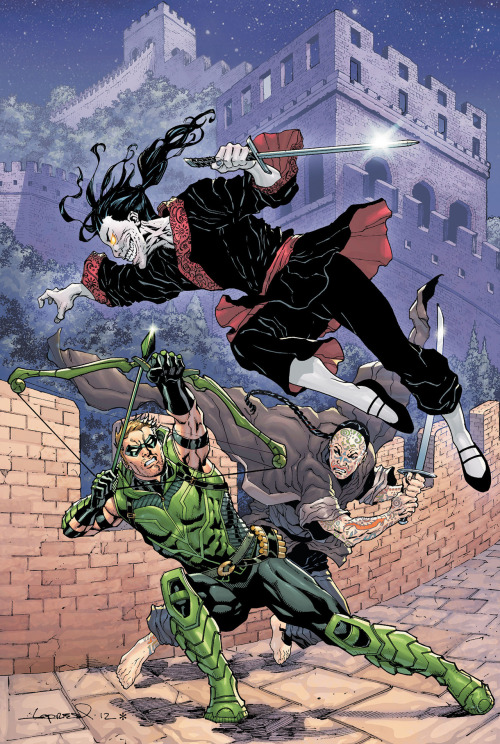 "Market Monday Green Arrow #13, written by Ann Nocenti  Green Arrow in China battling zombie warriors! Side by side with the Chinese kung fu genius extraordinaire, Suzie Ming! Ollie comes home to find trouble in the sky over Seattle – trouble that will lead to the ""HAWKMAN: WANTED"" storyline starting next month in GREEN ARROW and THE SAVAGE HAWKMAN!"