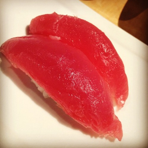 Haha #tuna #sushi. It looks so weird. #sashimi #japanese #food #yummy  (Taken with Instagram at Kabuki Japanese Restaurant)