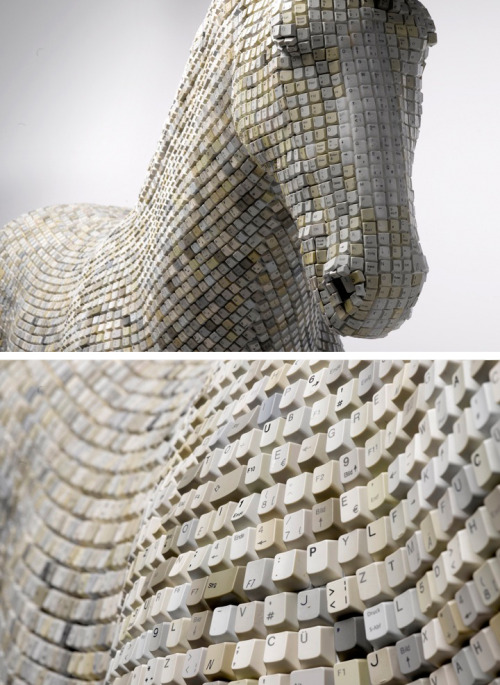 Sculpture made out of recycled keyboard buttons. An impressive sculpture titled 'hedonism(y) trojaner' by Babis created using recycled keyboard buttons. See more of Babis' work HERE