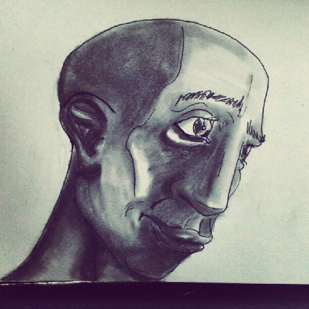 Bored as shit waiting for class start #African #face #guy #bored #art #pencil #fuck (Taken with Instagram)