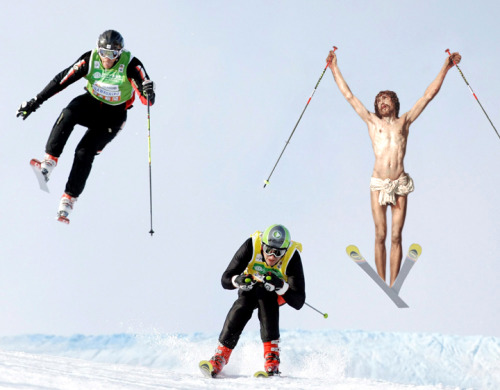 jesus-everywhere:  Jesus Competing In An Alpine Ski Race