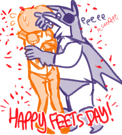 HAPPY FEETS DAY PUMKIN!! BAMAN DREW THIS TO SAY SORRY FOR DISAPPEARING FROM SKYPE (actually folks this is a general apology) AAAND WISH THAT  PUMKINS FEET GROW BIGGG AND AND AND BIGGER