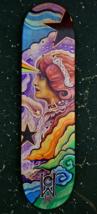 """Awakening"" - Acrylic on SkateboardSept. 2012 by Rev. Chad Wells Currently being raffled (raffle ends Oct. 13, 2012) - For SK8 of the Art Skatepark Benefit at Decoy Art Gallery in Beavercreek, OH"