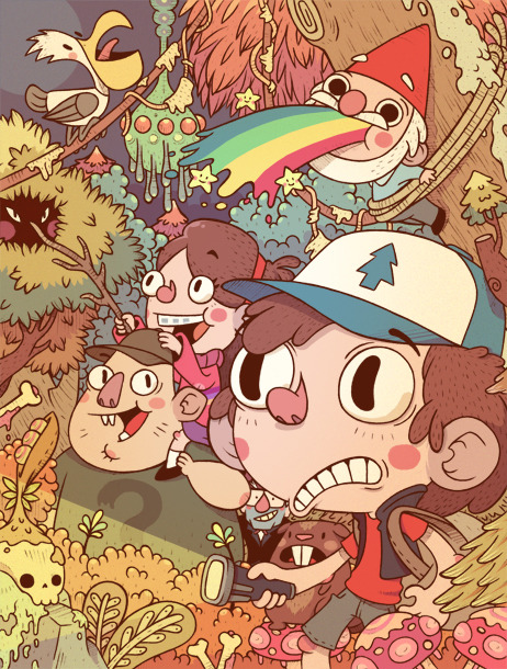 More amazing Gravity Falls fan art.  seigneurruei:  a mysterious night by ~DjBisparulz