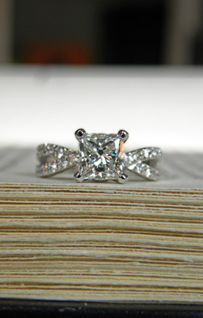 princess cut diamond with bead set twisting shank. custom design J ALBRECHT DESIGNS