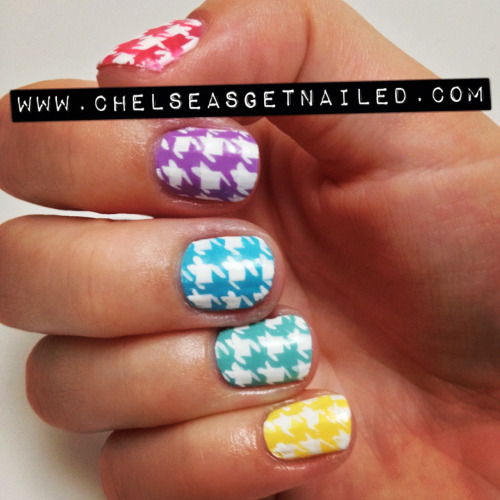 getnail-d:  Houndstooth print is my newest obsession! And even though its fall, I still refuse to give up my bright and fun colors. This design is 100% handpainted, no stamps! What I Used (top to bottom):-Essie Guilty Pleasures -Essie Play Date -Orly Frisky -China Glaze For Audrey -Orly Spark -Seche Vite top coat  Bbv