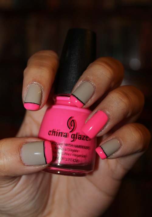 Neon French Tips using China Glaze's Shocking Pink (Neon) and Essie's Playa Del PlatinumEnjoy! :)