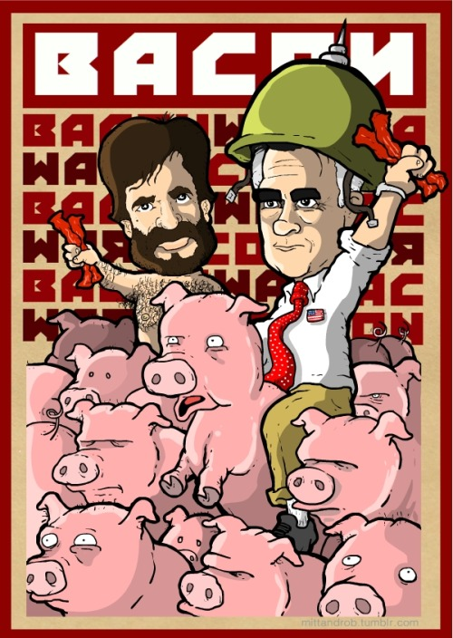 .@mittromney Obamma has said NOTHING about the coming bacon wars. how will u keep my families bacons safe from black health insurance ? — rob delaney (@robdelaney) September 27, 2012