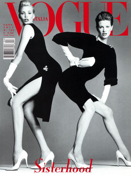 Faux Vogue Italia cover with Nadja and Kristen photographed by Richard Avedon 1995