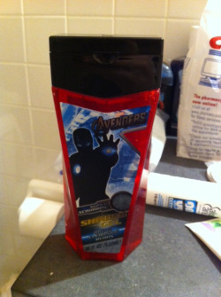 tony stark avengers nonsense shower gel pepper potts dying laughing right now pepper is allergic to strawberries but no seriously whose idea was that?