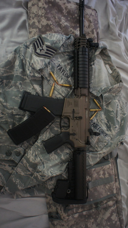 M6A2 5.56…. Shes my Call of Duty gun lol! VLTOR Stock and Upper, Magpul drop Sights, hand-guards, grip, 30x magazines, trigger guard and a limited edition olive drab metallic :)