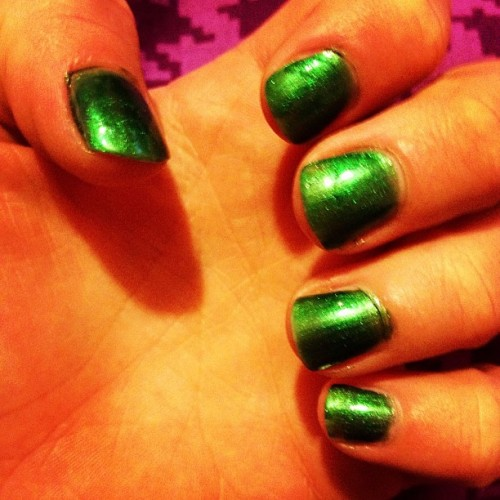 Green nails! #nails #green #love (Taken with Instagram)