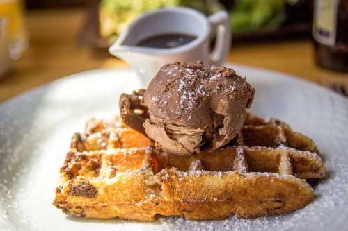 lovethywaffle:  Chocolate Chip Waffle with Ice Cream (by hm629)