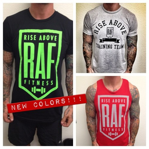 New Rise Above Fitness tshirt designs in! New color schemes in men's: Black/neon tshirt, grey/black tshirt, and red/grey tank. Also new racerback tanks for the ladies, in pink and neon. ALSO we've restocked a lot of our other designs that were sold out. Check out all the available merch: http://riseabovefitnessapparel.bigcartel.com/