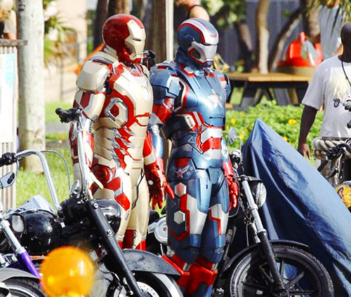 Iron Man & Iron Patriot on iron man 3 set (10/1/12)
