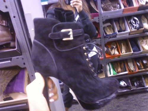 WISH I GOT THESE SHOES but i didnt because beside the price (~$140.oo, originally $250.oo, found at the nordstrum rack in willow grove mall) where would i wear these? actually i know the answer but anyways, i think they are so cute but im in highschool, and unlike pretty little liars and other shows with highschools/ highschoolers, 99% of the girls do not wear high heels… plus going up and down staris would become killer… but still loved them<3 btw these were sam edelman shoes, new fan of this brand