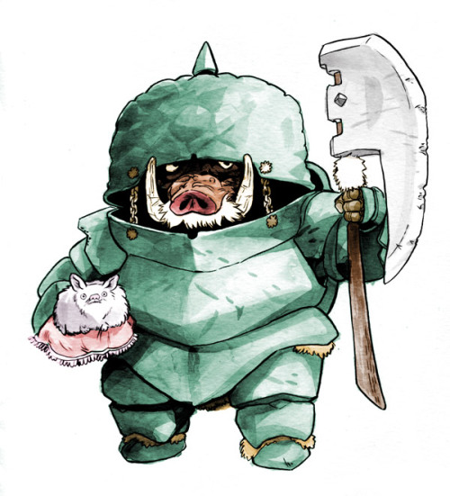 Iron Swine, bodyguard of Emperor Mittens. With his moonstone axe and impenetrable iron armor, this warrior defended his master for 27 years and 16 campaigns. His service was ultimately terminated after discovering that the emperor was a mere puppet of the dark wizard, Groftanieus Dom.
